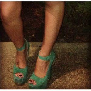 Luichiny Teal/Emerald PeepToe Platform Heels Sz 7